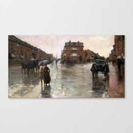 Childe Hassam - Rainy Day, Boston, 1885 Canvas Print