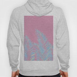 Palm Leaves Blue And Pink Hoody
