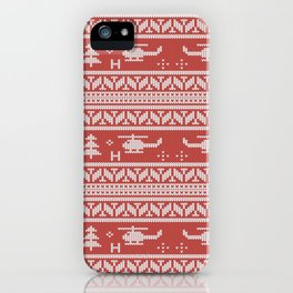Helicopter Aviation Christmas Pattern iPhone Case