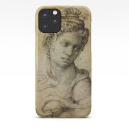 "Michelangelo Buonarroti ""Female Figure Seen in Bust-Length From the Front (Cleopatra with snake)"" iPhone Case"