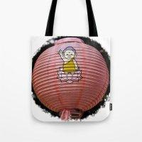 korean Tote Bags featuring Korean Lamp by Benedict Middleton