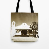 tarantino Tote Bags featuring Kill Bill Church Quentin Tarantino by Chris Bergeron