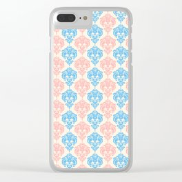 Vintage chic ivory coral blue floral damask pattern Clear iPhone Case