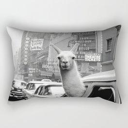 Llama Riding In Taxi Rectangular Pillow