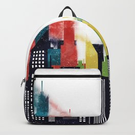 Colorful City Buildings And Skyscrapers In Watercolor, New York Skyline, Wall Art Poster Decor, NYC Backpack