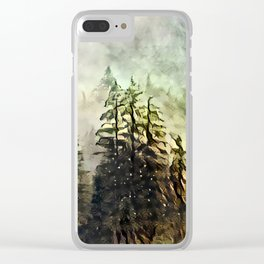 Tree's in the mist Clear iPhone Case