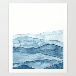 Indigo Abstract Mountains Art Print