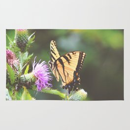 Eastern Tiger Swallowtail Butterfly on Thistle Photography Rug