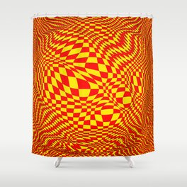 expanding checks, yellow red Shower Curtain