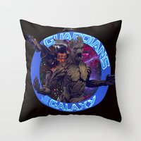 thanos Throw Pillows featuring Groot and Rocket - Guardians of the Galaxy by Leamartes