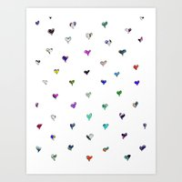 Colorful Little Hearts Art Print