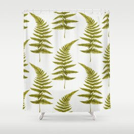 Green Watercolor Fern Pattern Shower Curtain