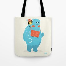 Blue-Monster Piggy-Ride Tote Bag