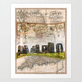 Stonehenge Art Map Art Print