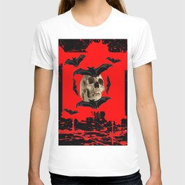 BAT INFESTED HAUNTED SKULL ON BLEEDING RED ON RED  ART T-shirt