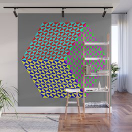 Hexagon of Colored Triangles Wall Mural