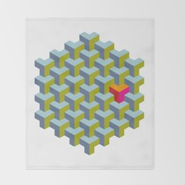 Be yourself - geomtric op art pattern Throw Blanket