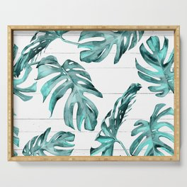 Turquoise Palm Leaves on White Wood Serving Tray