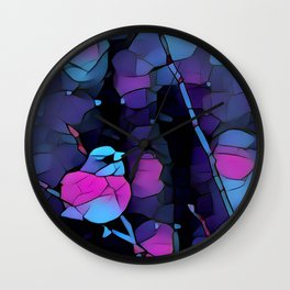 Junco Neon Pink Purple by CheyAnne Sexton Wall Clock