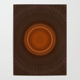 Tribal Copper Rust Mandala Design Poster