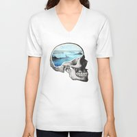 clock V-neck T-shirts featuring Brain Waves by Chase Kunz