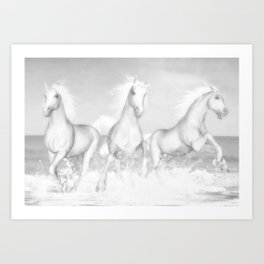 White Horses of the Camargue Art Print