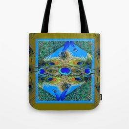 BLUE PEACOCKS KHAKI COLOR  FEATHER PATTERNS ART Tote Bag