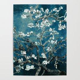 Van Gogh Almond Blossoms : Dark Teal Poster