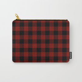 Vintage New England Shaker Large Barn Red Buffalo Check Plaid Carry-All Pouch