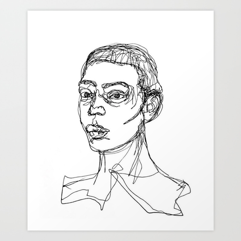 Line drawing of a man art print