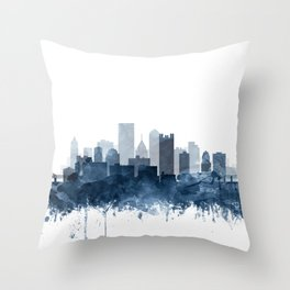 Pittsburgh City Skyline Watercolor Blue by Zouzounio Art Throw Pillow