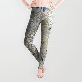 Mandala Flower, Blue and Gold, Floral Prints Leggings