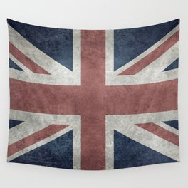 UK Flag, Retro Desaturated 1:2 scale Wall Tapestry