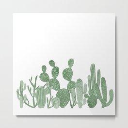 Green cactus garden on white Metal Print