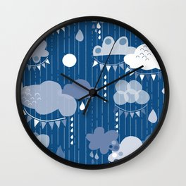 Party Clouds Clasic Blue Wall Clock