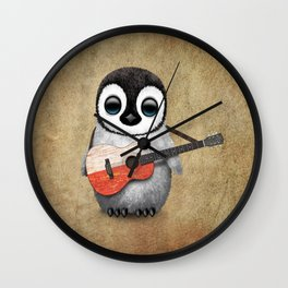 Baby Penguin Playing Polish Flag Acoustic Guitar Wall Clock