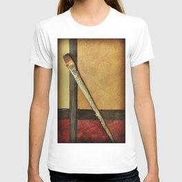 Artist Brush On Abstract Copper Canvas Artwork - Vintage - Modern Art - Corbin Henry T-shirt