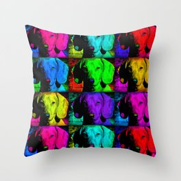 Colorful Pop Art Dachshund Doxie Face Closeup Tiled Image Throw Pillow