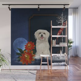 Cute little havanese puppy with flowers Wall Mural