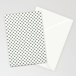 Dark Forest Green Five Pointed Stars on White Stationery Cards