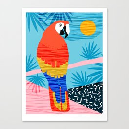 Say What - memphis throwback retro neon tropical 1980s 80s style hipster bright bird paradise art Canvas Print