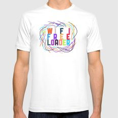 WIFI FREELOADER White MEDIUM Mens Fitted Tee