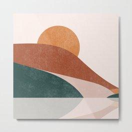 Sun and Moon Part 1, Terracota Mountain Sunset Abstrac Landscape Metal Print