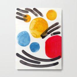 Mid Century Modern Abstract Juvenile childrens Fun Art Primary Colors Watercolor Minimalist Pop Art Metal Print