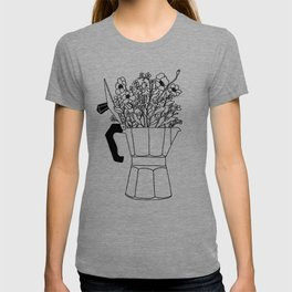 Moka Flowers - Coffee- BW T-shirt