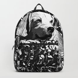 beagle dog flower field vector art black white Backpack