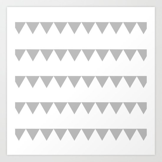 TRIANGLE BANNERS (Gray) Art Print
