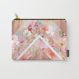 Vintage floral watercolor rustic brown wood geometric triangles Carry-All Pouch