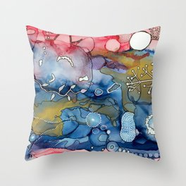 Reef of Rose and Prussian Throw Pillow