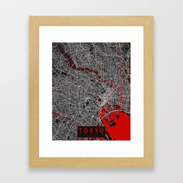 Tokyo City Map of Japan - Oriental Red Framed Art Print